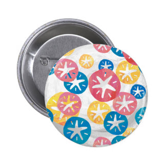 Sand Dollar Yellow Red Blue Pattern Button