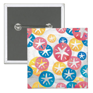 Sand Dollar Yellow Red Blue Pattern Buttons