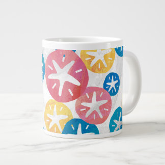 Sand Dollar Yellow Red Blue Pattern Large Coffee Mug