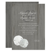 Sand Dollars Gray Beach Themed Wedding Invitation