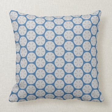 Beach Themed Sand Dollars on Blue Throw Pillow