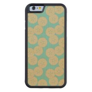 Sand Dollars Pattern gold teal iPhone 6 maple wood Carved® Maple iPhone 6 Bumper Case