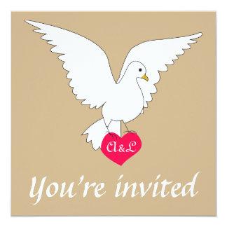 """Sand Dove Wedding Invitation 5.25"""" Square Invitation Card"""