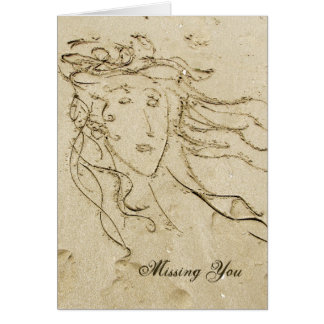 Sand Drawing - I Miss You card