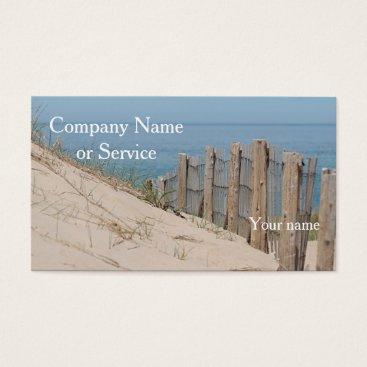 Beach Themed Sand dunes and beach fence business card