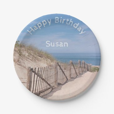 Beach Themed Sand dunes and beach fence paper plate
