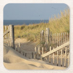 """Sand dunes and beach fence square paper coaster<br><div class=""""desc"""">Beach fence and grass in the dunes at Race Point on Cape Cod</div>"""