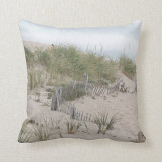 Sand dunes and beach fence throw pillow