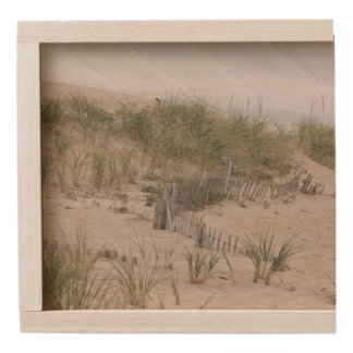 Sand dunes and beach fence wooden keepsake box