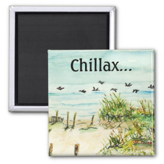 Sand Dunes and Seagulls Outer Banks North Carolina 2 Inch Square Magnet