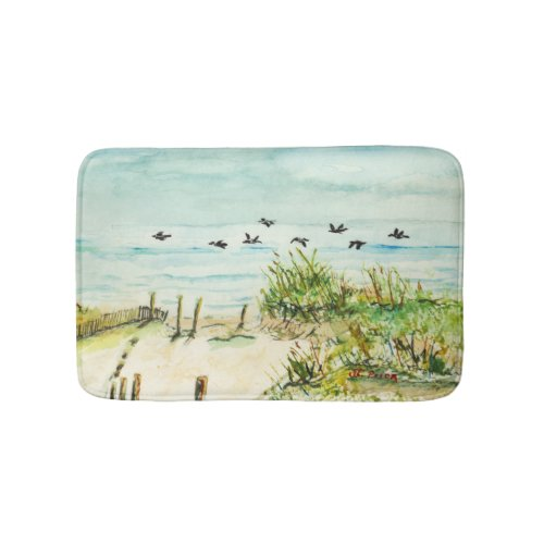 Sand Dunes and Seagulls Outer Banks North Carolina Bath Mat
