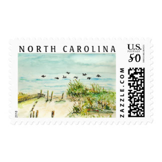 Sand Dunes and Seagulls Outer Banks North Carolina Postage