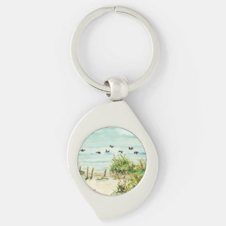 Sand Dunes and Seagulls Outer Banks North Carolina Silver-Colored Swirl Metal Keychain