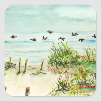 Sand Dunes and Seagulls Outer Banks North Carolina Square Sticker