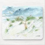 Sand dunes beach seascape nautical watercolor art mouse pad