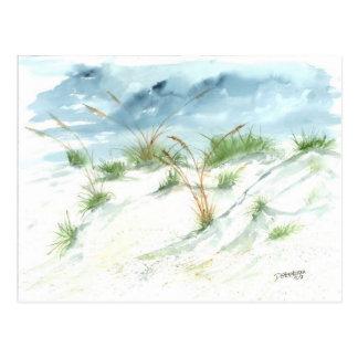 Sand dunes beach seascape nautical watercolor art postcard