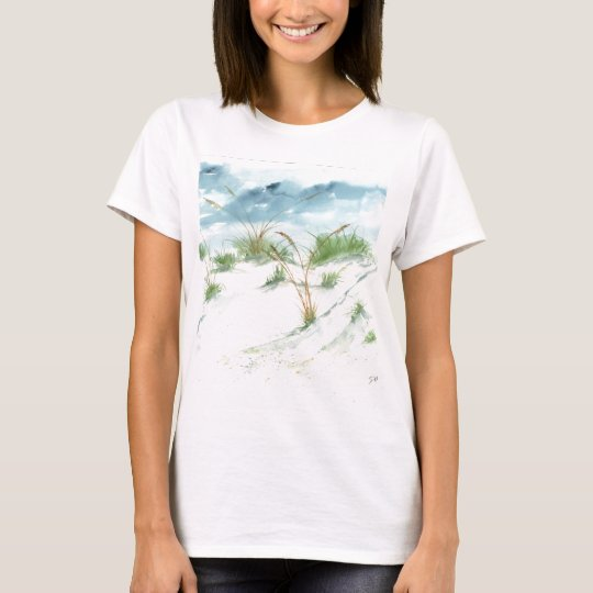 Sand dunes beach seascape nautical watercolor art T-Shirt