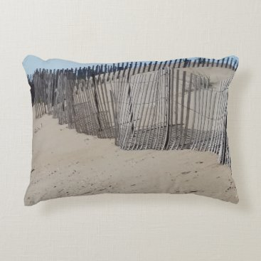 Beach Themed Sand Fence on Virginia Beach Accent Pillow