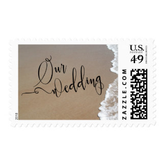 Sand & Foam Beach Our Wedding Black Script Postage