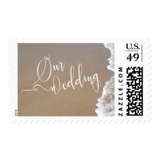 Sand & Foam Beach Our Wedding White Script Postage