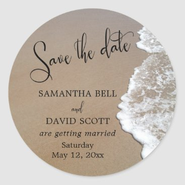 Beach Themed Sand & Foam Beach Photo Save the Date 1 Classic Round Sticker