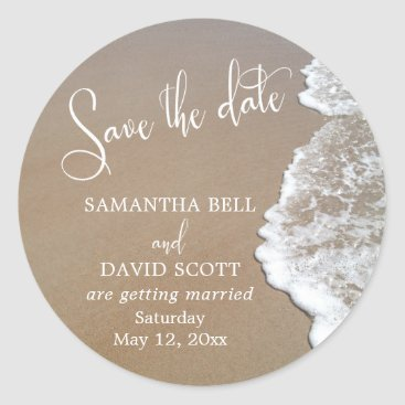 Beach Themed Sand & Foam Beach Photo Save the Date 2 Classic Round Sticker