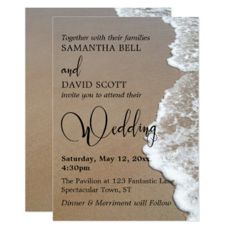 Sand & Foam Beach Photo, Typography Wedding 1 Card