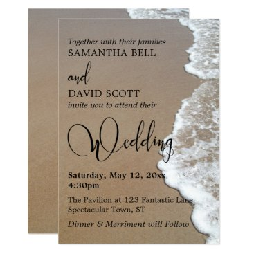 Beach Themed Sand & Foam Beach Photo, Typography Wedding 1 Card