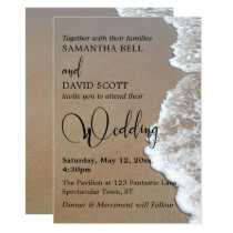 Sand & Foam Beach Photo, Typography Wedding 1 Invitation