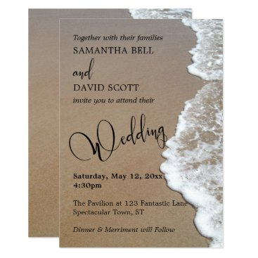 Beach Themed Sand & Foam Beach Photo, Typography Wedding 1b Card