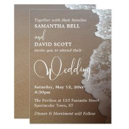 Sand & Foam Beach Photo & Typography Wedding 2 Card
