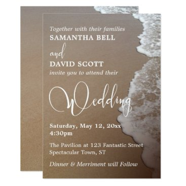 Beach Themed Sand & Foam Beach Photo & Typography Wedding 2 Card