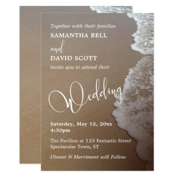 Beach Themed Sand & Foam Beach Photo & Typography Wedding 2b Card