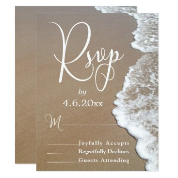 Beach Themed Sand & Foam Beach Photo/Typography Wedding RSVP 2 Card