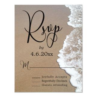 Sand & Foam Beach Photo & Typography Wedding RSVP Card