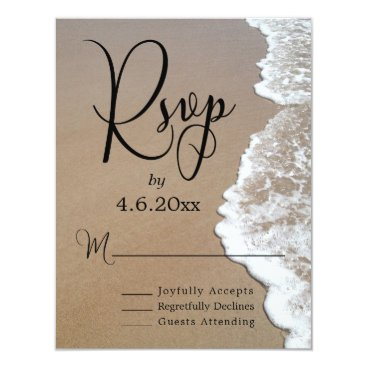 Beach Themed Sand & Foam Beach Photo & Typography Wedding RSVP Card