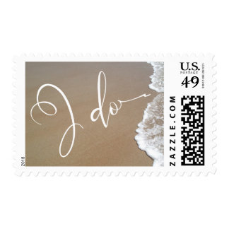 Sand & Foam Beach Wedding I Do White Script Postage