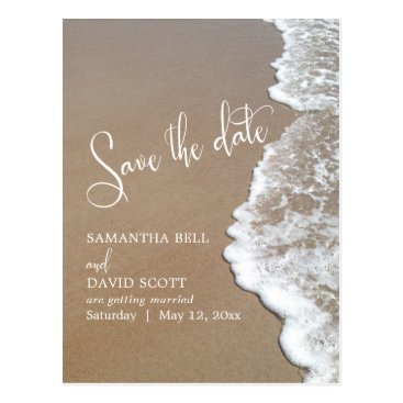 Beach Themed Sand & Foam Beach Wedding Save the Date 1b Postcard