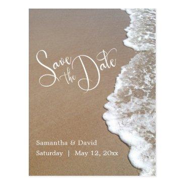 Beach Themed Sand & Foam Beach Wedding Save the Date 2b Postcard