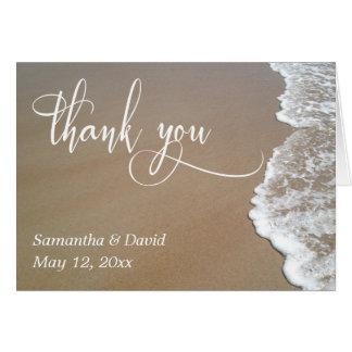 Sand & Foam Beach Wedding Typography Thank You 2 Card