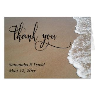 Sand & Foam Beach Wedding Typography Thank You Card