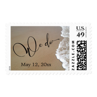 Sand & Foam Beach Wedding We Do Black Script, Date Postage