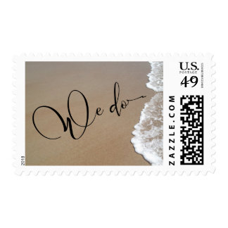 Sand & Foam Beach Wedding We Do Black Script Postage
