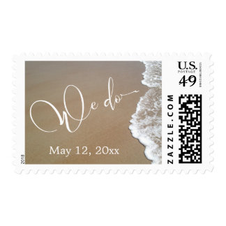 Sand & Foam Beach Wedding We Do White Script, Date Postage