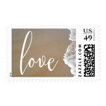 Beach Themed Sand & Foam Beach Wedding White Script Love Postage