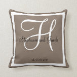 "Sand grey taupe custom Wedding keepsake pillow<br><div class=""desc"">Sand grey taupe custom Wedding keepsake pillow, Black and White monogrammed pillow with bride and groom names and wedding date in decorative script.Solid tan colored background. Makes a great gift for newly weds. Elegant, trendy, accessory for your bedroom, favorite chair, or any room in your families home. Customize with your...</div>"