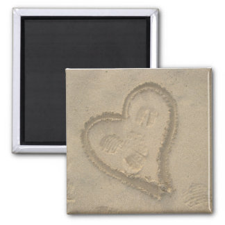 Sand heart 2 inch square magnet