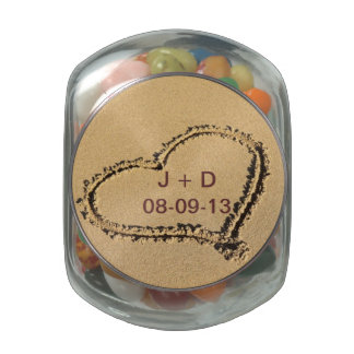 Sand Heart Beach Candy Jar Glass Candy Jar