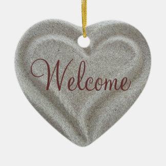 Sand Heart Welcome Door Sign Ceramic Ornament