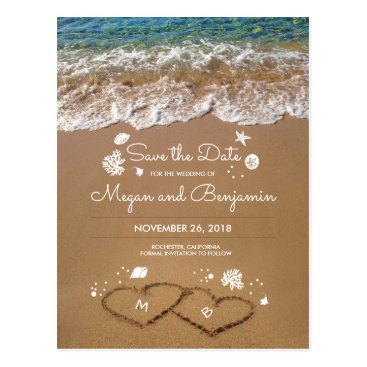Beach Themed Sand Hearts Beach Summer Save The Date Postcard